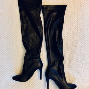 Leather thigh high heels